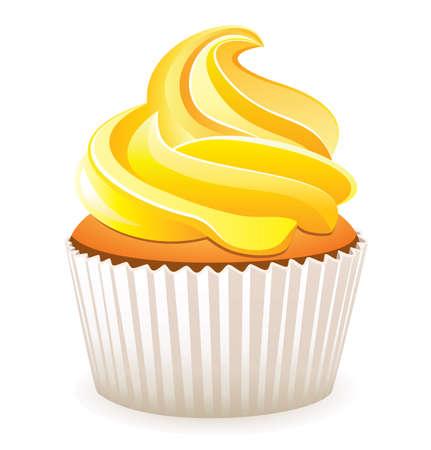 cupcake illustration: yellow cupcake