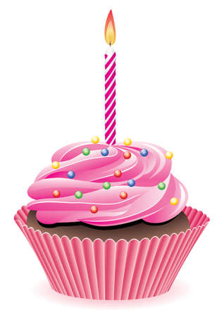 chocolate cakes: vector cupcake with sprinkles and burning candle