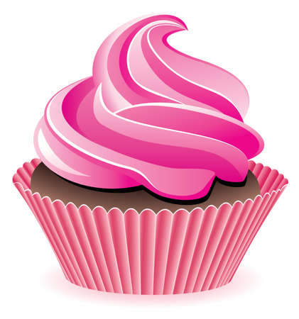 cupcakes isolated: vector pink cupcake