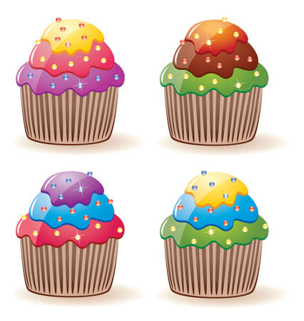 vector colorful cupcakes with sprinkles Vector