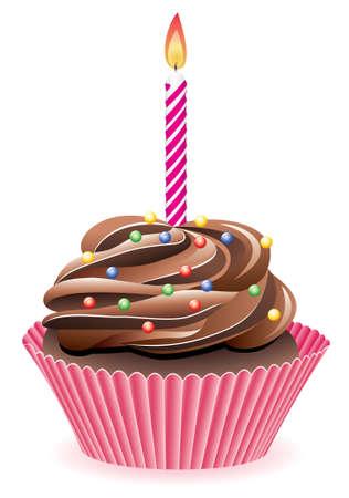 torta candeline: cupcake vettore di cioccolato con la masterizzazione di una candela