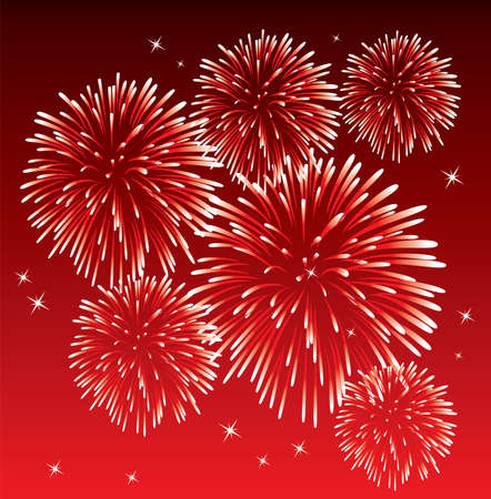 fireworks on white background: vector red fireworks background