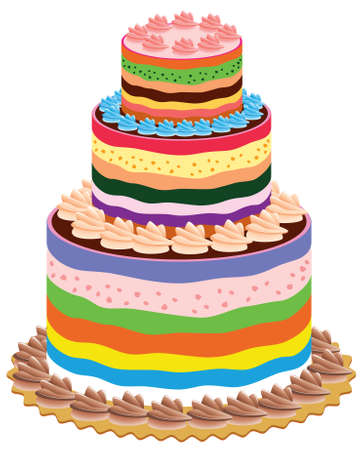 cute chocolate: big and colorful vector cake Illustration