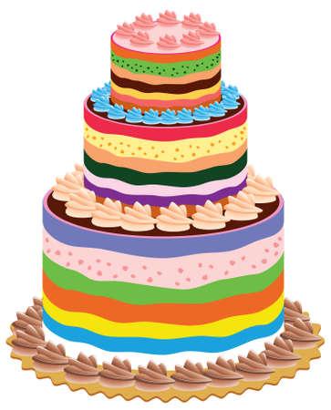 gâteau de vecteur Big et coloré