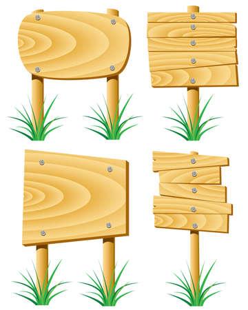 arrow wood: elementos de madera de vector y hierba