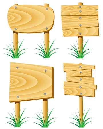 vector wooden elements and grass Vector