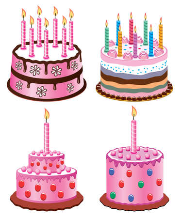 pink cake: vector birthday cakes with burning candles