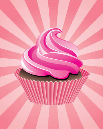 home baked: vector pink cupcake on retro background