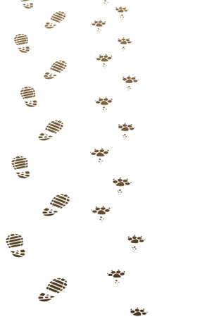 vector dirty foot prints of man and dog Vector