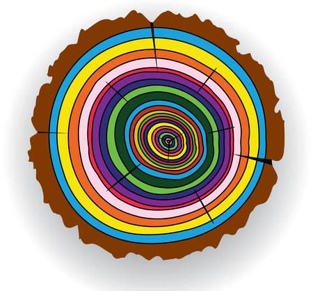 circulos concentricos: Corte de madera colorida de vector  Vectores