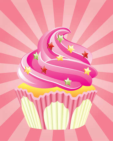vector pink cupcake with sprinkles, on retro background  Vector