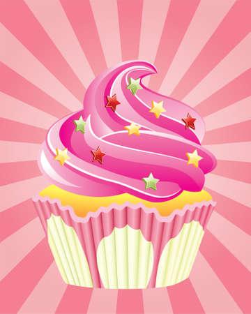 Vektor Rosa Cupcake mit Streuseln, auf retro Hintergrund  Vektorgrafik