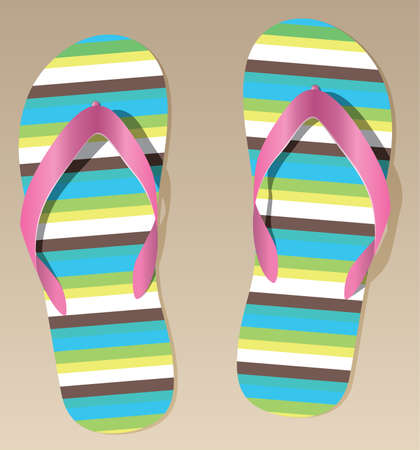 vector pair of flip flops on the sand Stock Vector - 7546958