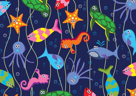 green sea turtle: background of colorful sea animals  Illustration