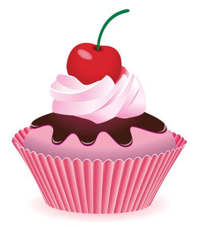 cupcake con cereza  Ilustración de vector