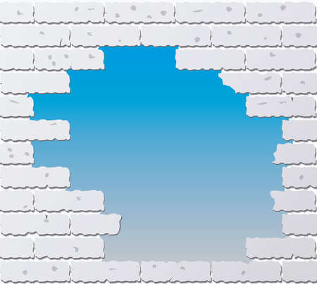 illustration of broken gray brick wall Vector