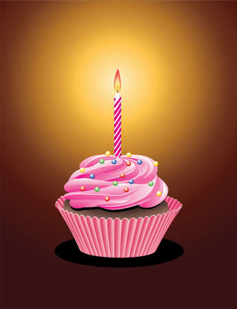 cupcake with sprinkles and burning candle Vector