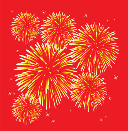 fireworks on white background: yellow fireworks over red background