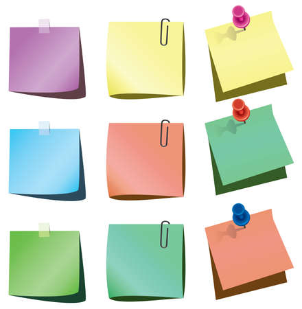 paper notes with push pin and paperclip Stock Vector - 7614648
