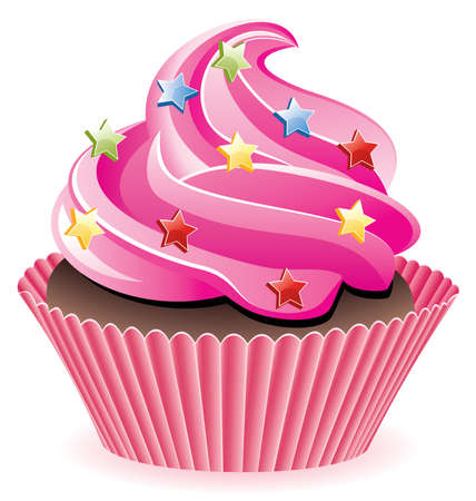 pink cupcake with sprinkles Stock Vector - 7696876