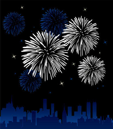 fireworks on white background: fireworks over a city