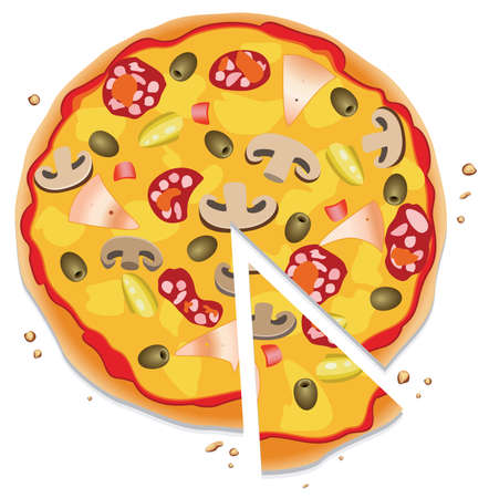 italian sausage: italian pizza with a slice, on white background Illustration