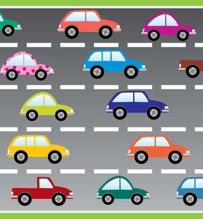 cars on the road Stock Vector - 7696878