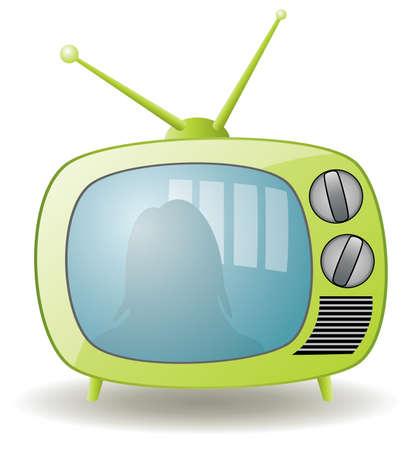 a cartoon film: green retro tv set