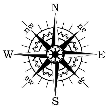 dial compass: black compass Illustration