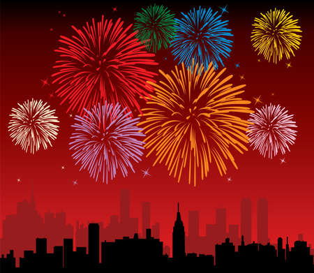 fireworks over a city Stock Vector - 7696972