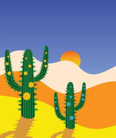 cactus desert: cactus in de woestijn Stock Illustratie