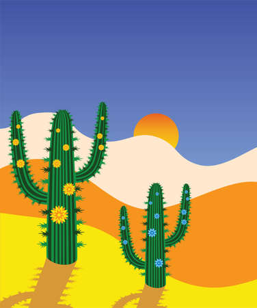 cactus flower: cactus in desert Illustration