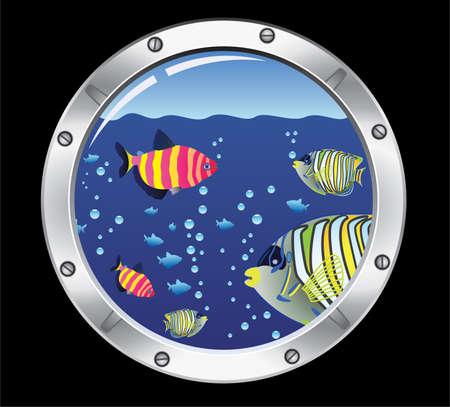 Portilla y coloridos peces  Ilustración de vector