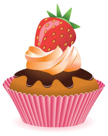 home baked: cupcake with strawberry Illustration