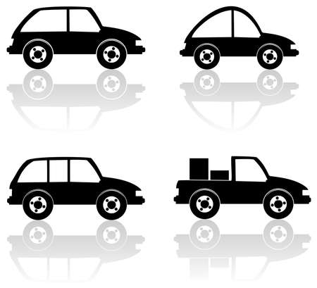 set of black cars Stock Vector - 7696927