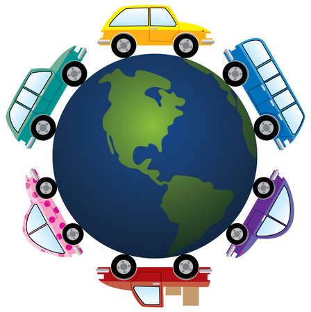 cars around earth globe Stock Vector - 7696931