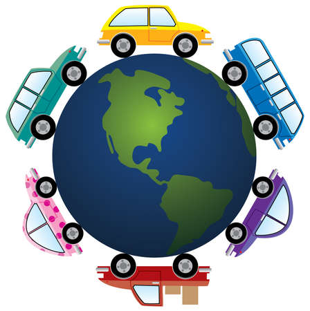 around: cars around earth globe Illustration