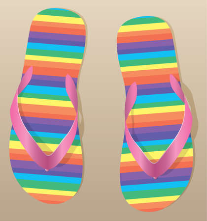 pair of flip flops on the sand Vector