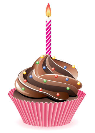 icing:   chocolate cupcake with sprinkles and burning candle