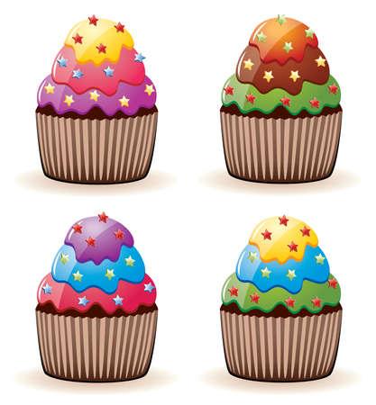 sprinkles:   colorful cupcakes with sprinkles