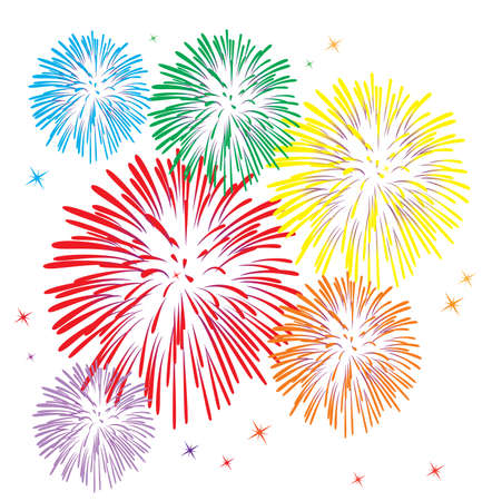 red white blue:   colorful fireworks on white background