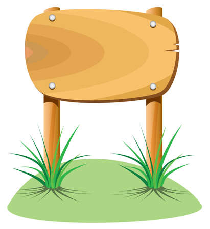 wooden element and grass Vector