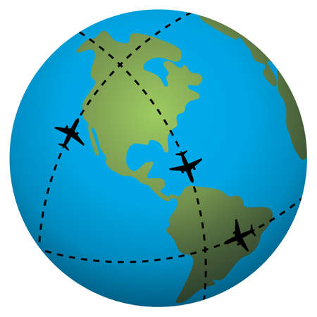 passenger airline:   airplane flight paths over earth globe Illustration