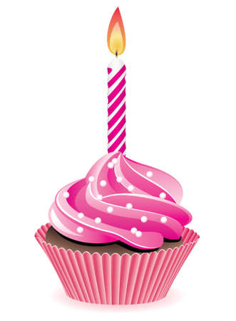 pink cupcake with sprinkles and burning candle Vector