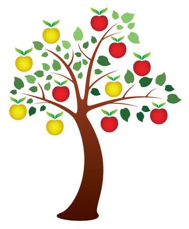 árbol de manzana con frutas