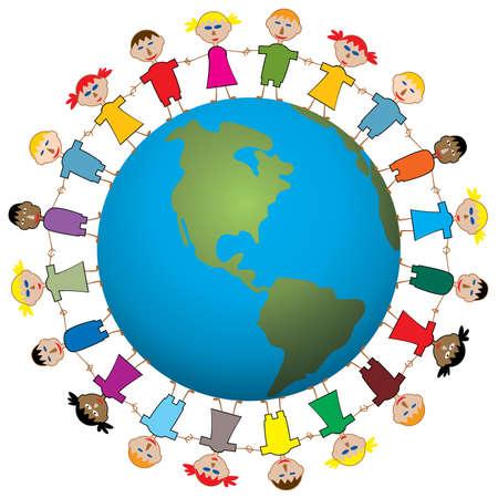 Ilustración de los niños del mundo