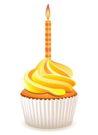 cupcake illustration:  yellow cupcake with burning candle