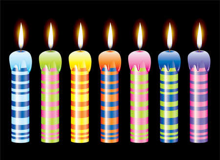 set of burning candles Vector