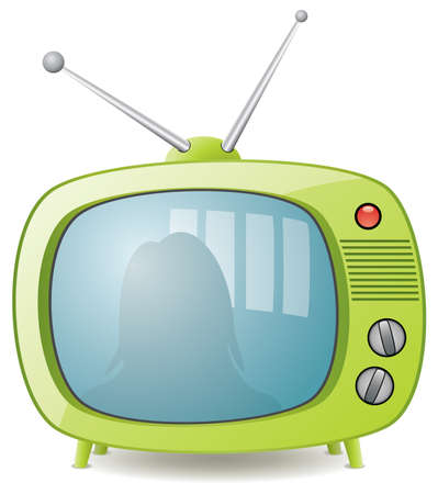television:  green retro tv set Illustration