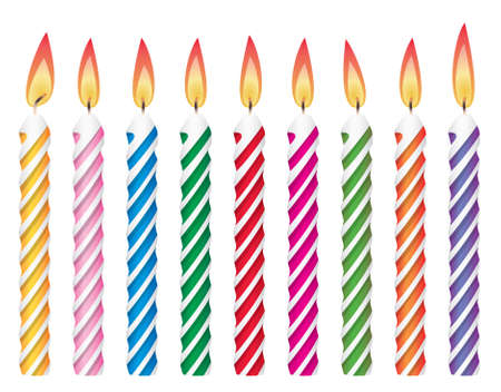 orange cake: colorful birthday candles Illustration